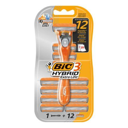 BiC Herrenrasierer Hybrid3 Extra Life + 12 Klingen