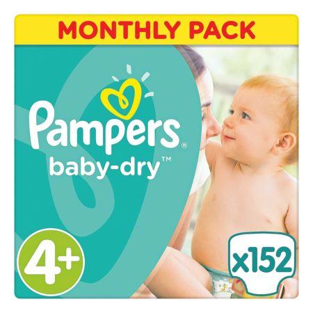 Pampers Baby Dry Gr. 4+, 10-15 kg, Monatsbox, 152 Windeln