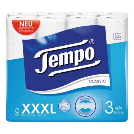 Tempo Toilettenpapier Classic 3-lagig XXXL PACK 32 Rollen
