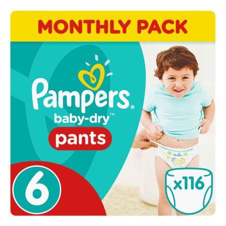 Pampers Gr. 6 Baby Dry Pants Extra Large 15  kg Monatsbox 116er