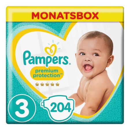 Pampers Gr. 3 Premium Protection Midi 6-10 kg Monatsbox 204er