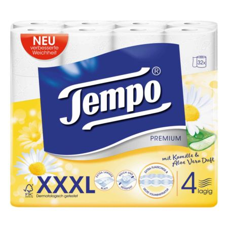 Tempo Toilettenpapier Kamille + Aloe Vera 4-lagig XXXL PACK 32 Rollen