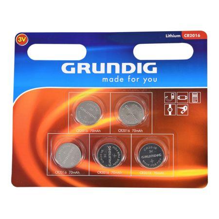 Grundig Knopfzelle CR-2016, 5 Stück