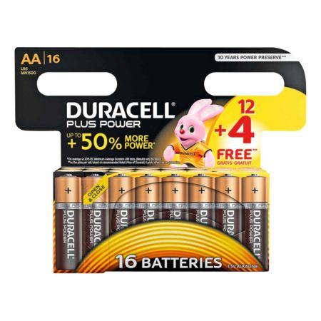 Duracell Batterien Plus Power AA 12 + 4 Stück