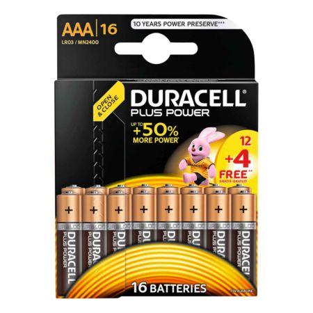 Duracell Batterien Plus Power AAA 12 + 4 Stück