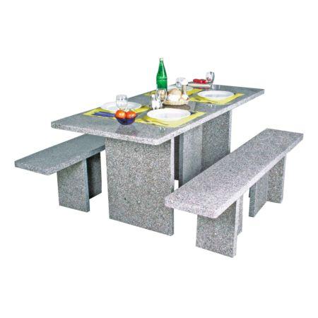 Tischgarnitur Sepino Granit 3-teilig, eckig