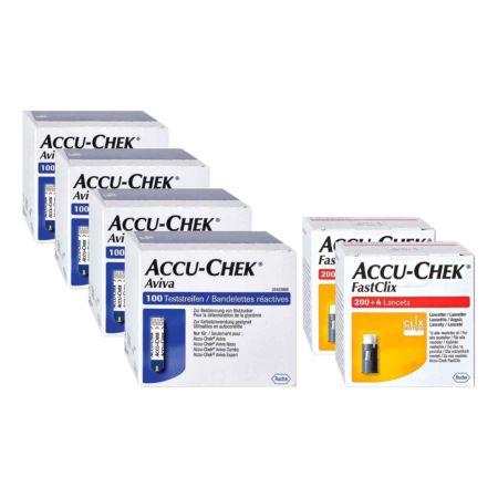 Roche Accu-Chek 4 x 100 Aviva Teststreifen + 2 x 204 Fastclix Lanzetten
