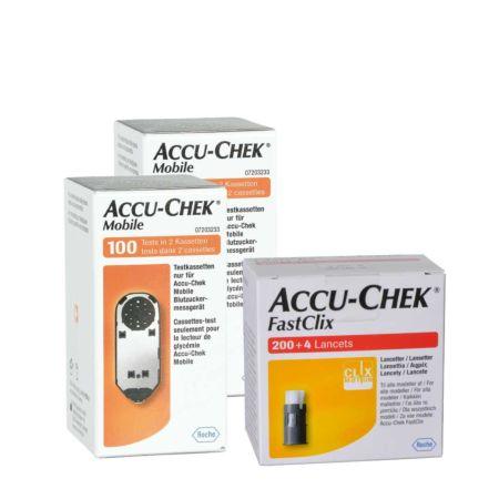 Roche Accu-Chek Mobile Teststreifen 2 x 100 + 204 FastClix Lanzetten
