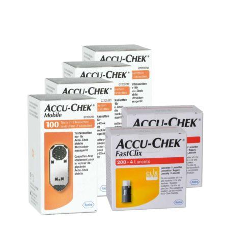 Roche Accu-Chek Mobile Teststreifen 10 x 100 + 2 x 204 FastClix Lanzetten