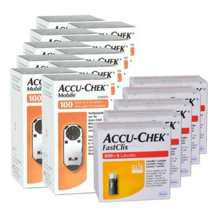 Roche Accu-Chek Mobile Teststreifen 10 x 100 + 5 x 204 FastClix Lanzetten