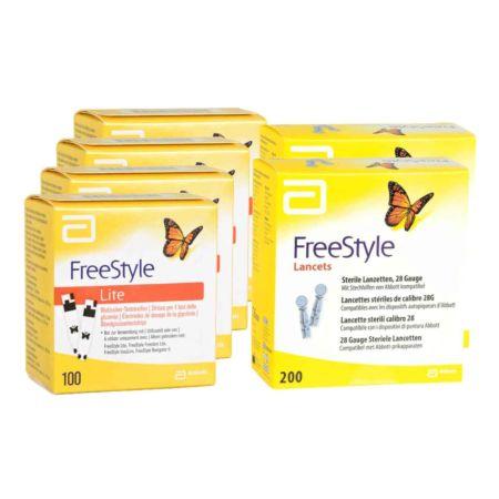 Abbott FreeStyle Lite Teststreifen 4 x 100 + 2 x 200 FreeStyle Lanzetten