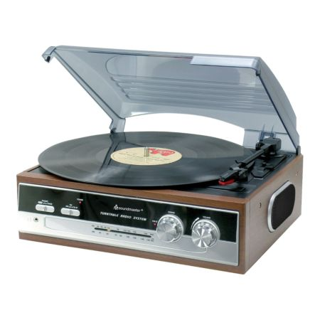 Soundmaster PL186 H - Nostalgie-Plattenspieler mit Radio