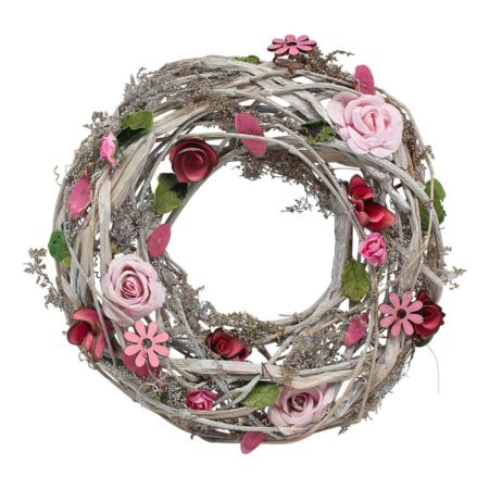 Blumenkranz mit rosa Blumen 26 cm