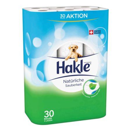 Hakle Toilettenpapier 3-lagig Natürliche Sauberkeit 30 Rollen