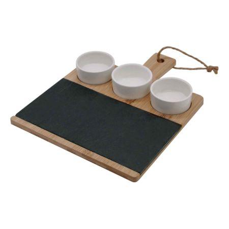 Schieferplatte mit Holz + 3 Schalen