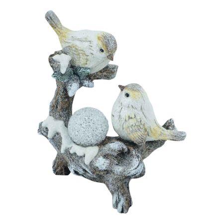 Baumstamm mit Vögel mit LED Ball