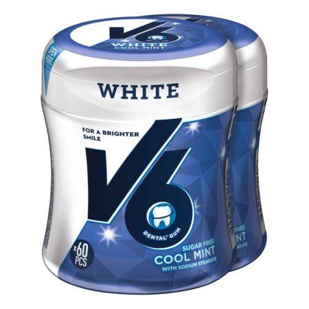 V6 White Cool Mint Bottle Kaugummi ohne Zucker 2 x 87 g