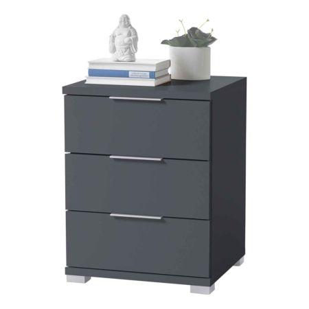 Nachttisch Dormo, graphit 3 Schubladen