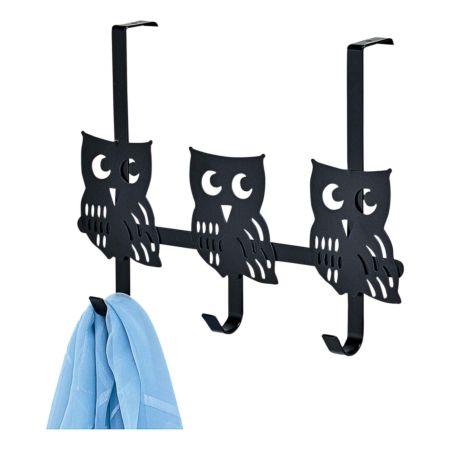 Türgarderobe Owl Metall schwarz, 3 Haken