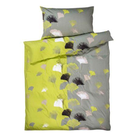 Bettwäsche mit grau-grünem Blumenmuster