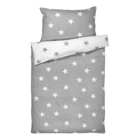 Bettwäsche mit grauen und weissen Sternen