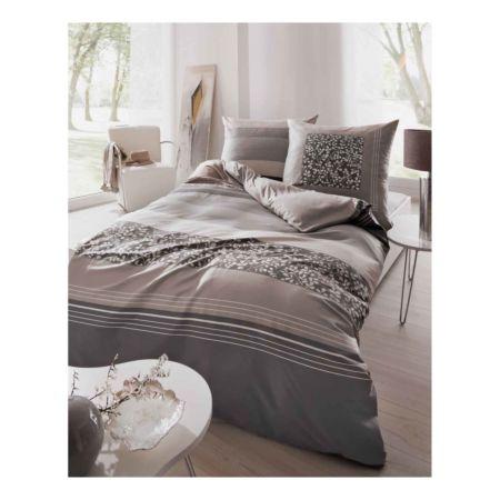 Kaeppel Bettwäsche mit Querstreifen und Blätter-Muster