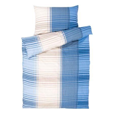 Bettwäsche mit blauen und beigen Streifen
