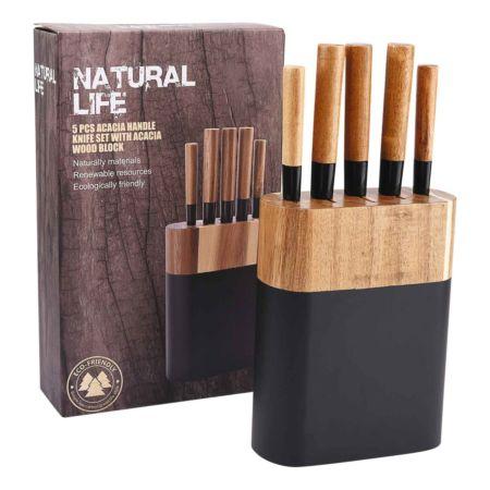 Natural Life Messerblock aus Akazienholz 6-teilig