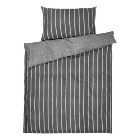 Bettwäsche grau mit Streifen