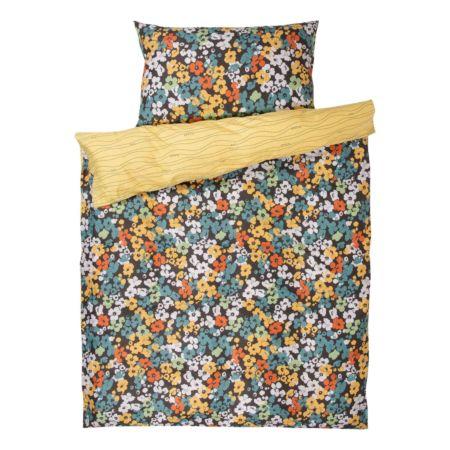 Bettwäsche gelb mit Blumen