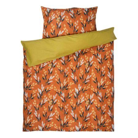 Bettwäsche senfgelb und orange mit Blumenprints