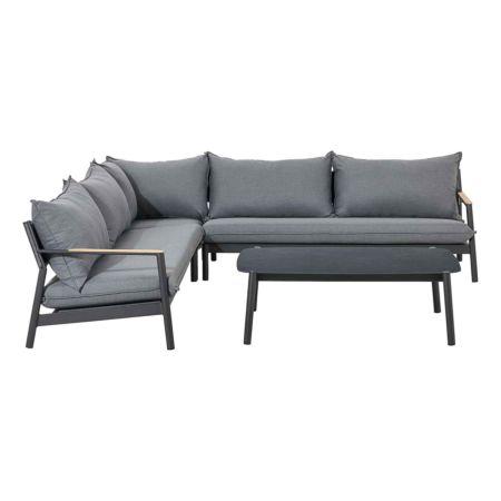 Lounge-Corner Monti, Alu anthr./Teak