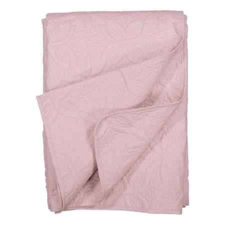 Bettüberwurf rosa mit Stickerei