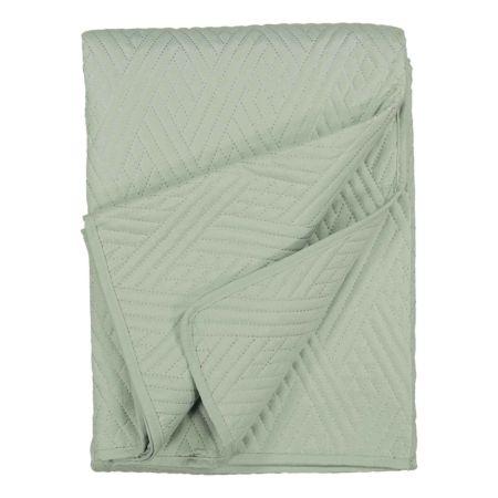 Bettüberwurf grün mit Stickerei