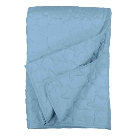 Bettüberwurf blau mit Stickerei