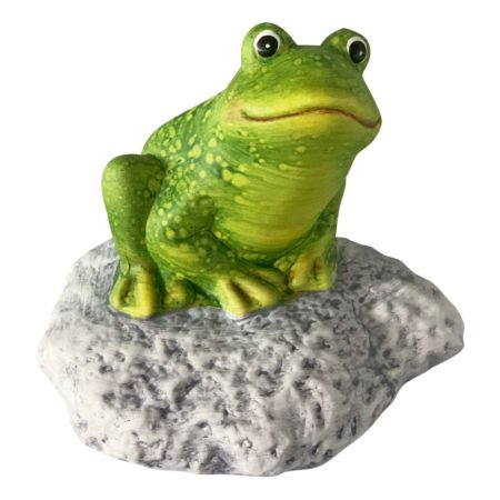 Deko-Figur Frosch auf Stein 12 x 9 x 11.5 cm