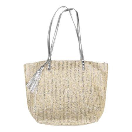 Strandtasche mit silbernem Riemen