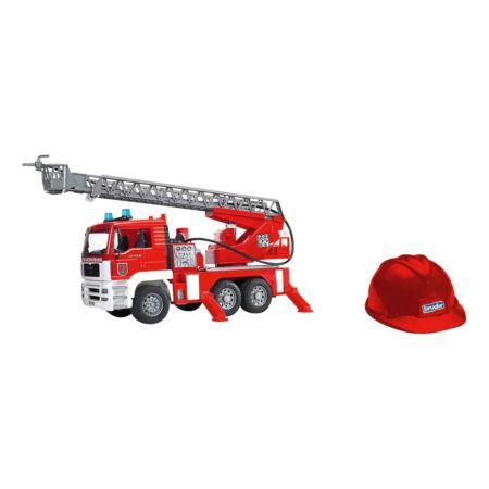 BRUDER MAN Feuerwehr mit Drehleiter & Spielhelm