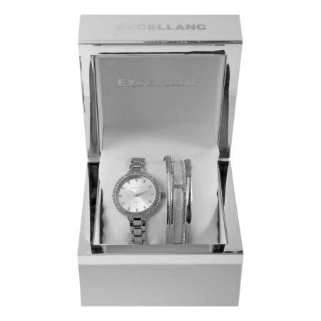 Excellanc Uhrenset mit Uhr und 3 Armreifen, silberfarben