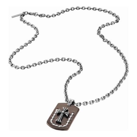 Police Herren-Edelstahl-Halskette mit Lederanhänger