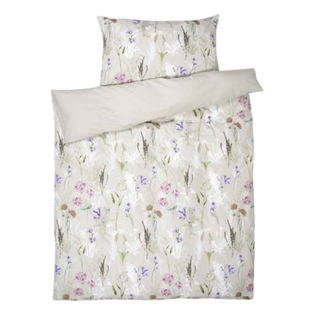 Bettwäsche beige mit Blumen