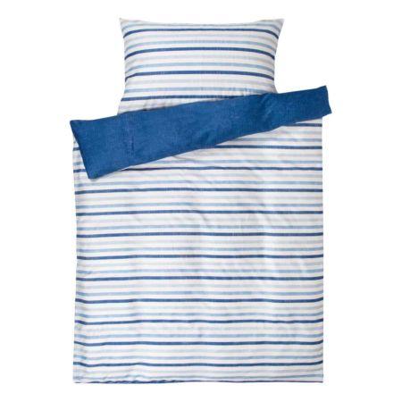 Bettwäsche mit Streifen blau