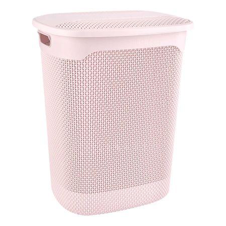 Wäschekorb mit Deckel rosa 57 l