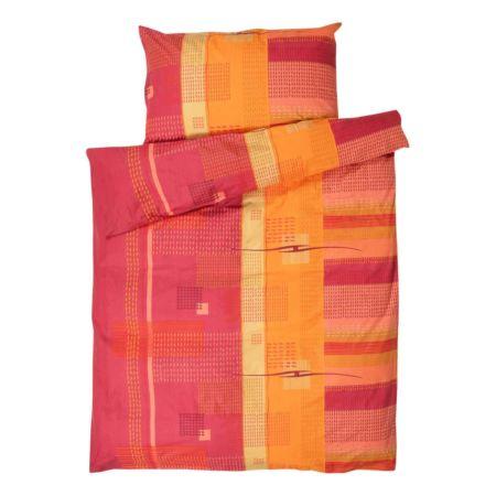Bettwäsche orange-rot gemustert