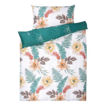 Bettwäsche mit Blüten und Blätter