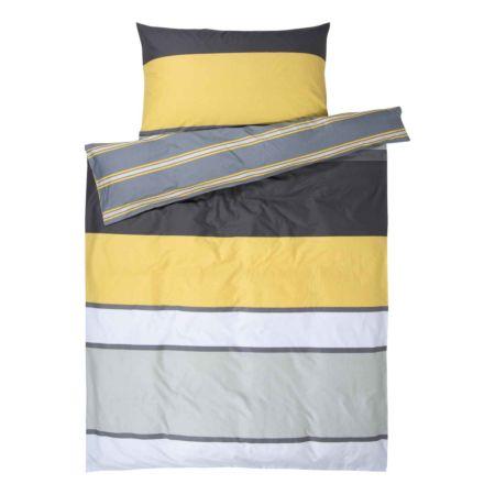Bettwäsche grau gelb gestreift
