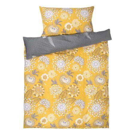 Bettwäsche gelb mit Blüten und Blätter