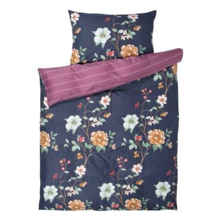 Bettwäsche mit Blüten und Streifen