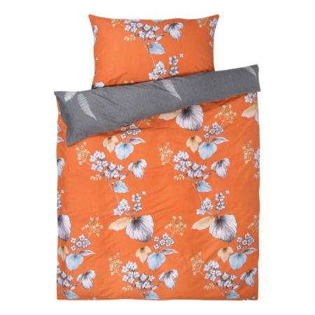 Bettwäsche orange mit Blüten und Blätter