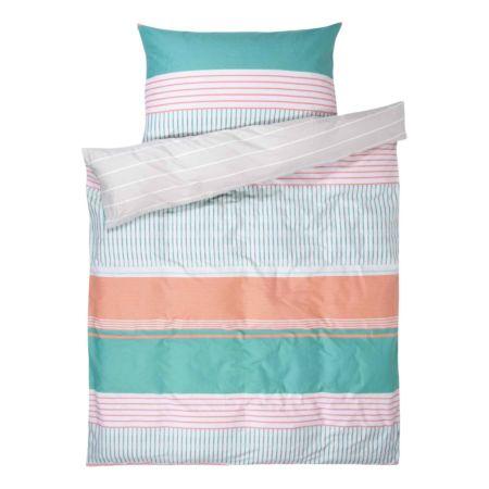 Bettwäsche mit Streifen pastell bunt und hellgrau